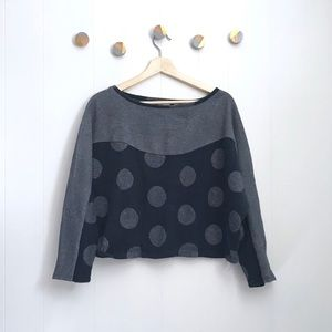 Anthropologie Postmark Cropped Sweatshirt Dots XL
